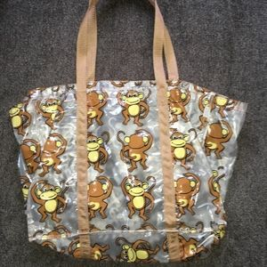 Handbags - Super Cute Clear Plastic Monkey pattern Tote Bag